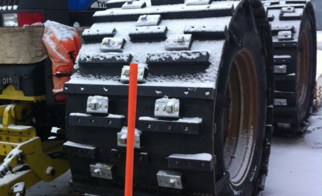 Image of agricultural rubber tracks and aftermarket tracks for tractors.