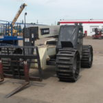 Image of telehandler tracks and custom rubber telehandler tracks.