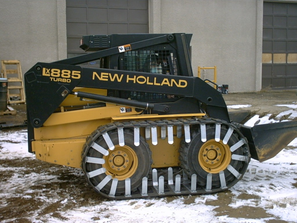 Image of skid steer tracks on new holland machine