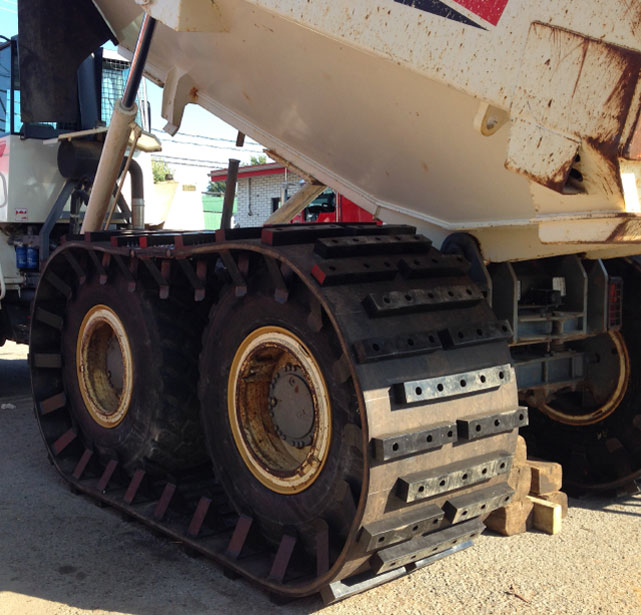 rubber track conversion for triplee axle trucks