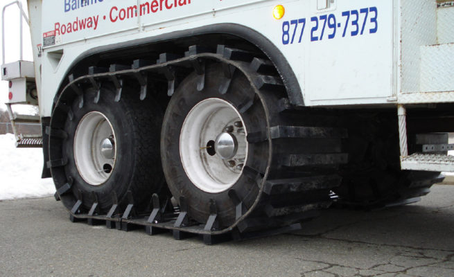 Custom Track System on articulating truck.